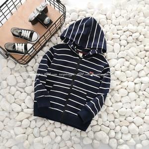 2-7 years 2017 New Wholesale Children's Autumn Hooded Sweatshirts Childrens Striped Cotton Jackets