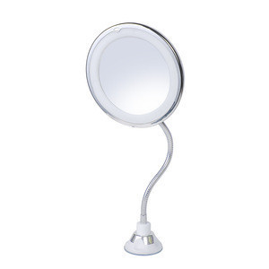 5X/10X Magnifying Makeup Mirror with Light Flexible Suction Gooseneck