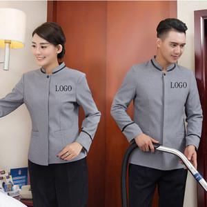 Custom logo Hotel housekeeping uniform restaurant cleaner staff waiter design
