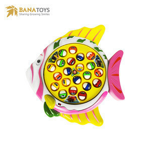 Educational Electric musical rotating fishing game toy play set for kids