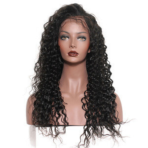 Factory dropship human hair full lace wig, Curly deep wave 360 lace frontal wigs
