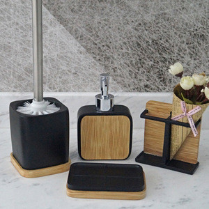 Fashion Washroom Accessories Eco-Friendly And Natural Polyresin Bathroom Bath Set