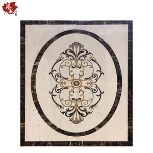 Flower Pattern Metal Mixed Glass Bathroom Mosaic Tile Customized Size Marble Stone pattern