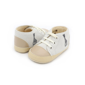 Grey soft canvas casual lace up toddler infant baby shoes for baby boys