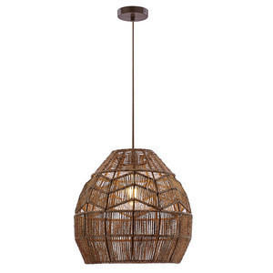 Hemp rope pendant lamp painted natural metal pendant lamp