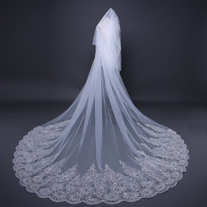Lace Wedding Veil with Sequins Long Bridal Veils