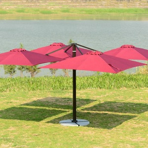 Large Outdoor Sunshade High-end Clubs Four Head Patio Umbrella