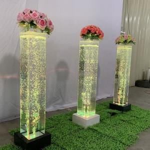 Luxury wedding decor glowing water bubble lamp flower pillars wedding decoration lights