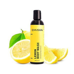 Natural organic private label customize lemon shower gel moisturizing cleaning anti-bacterial herbal body wash