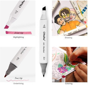 Ohuhu 40 Colors Dual Tips Alcohol Art Markers  Highlighter Pen Sketch Markers for Drawing Sketching Adult Coloring