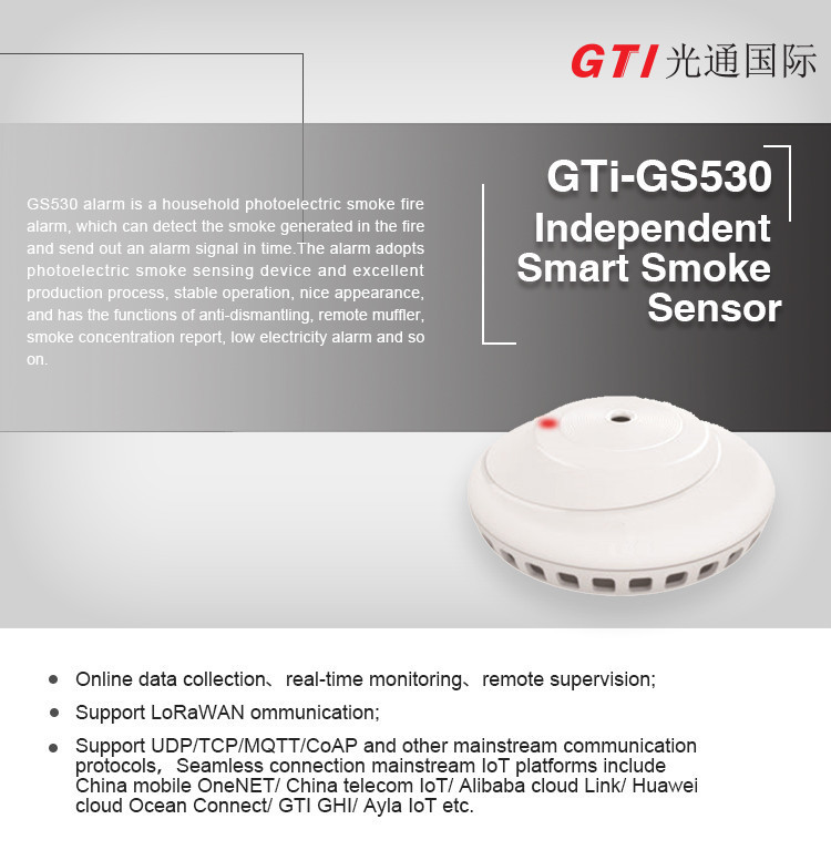 On-line data acquisition fire smoke sensor Lorawan system wireless detector