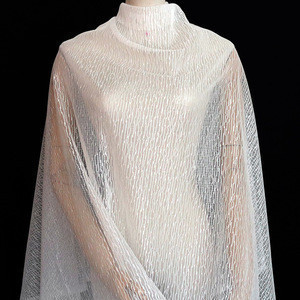 STRIP DESIGN WHITE COLOR 100%POLYESTER LACE FABRIC FOR WEDDING AND DRESS