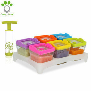 Vacuum Airtight Glass Square Cube Baby Food Storage Container Set with Tray for Baby Milk Puree
