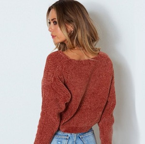 Zm30652c Autumn and winter 2018 Europe loose pullover knitted base sweater lady V-neck  solid color large size short sweater