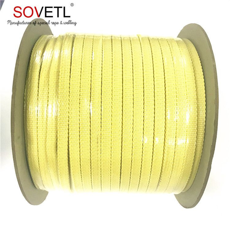 High Temperature Resistance Kevlar Oven Roller Rope Tape For Glass Tempering Furnace