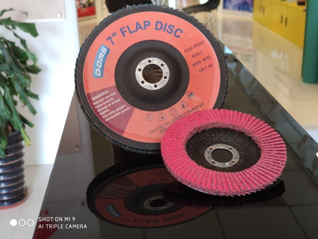 "4 -1/2"" flap disc ceramic and aluminum grain factory OEM, Grit # 40 for grinding"