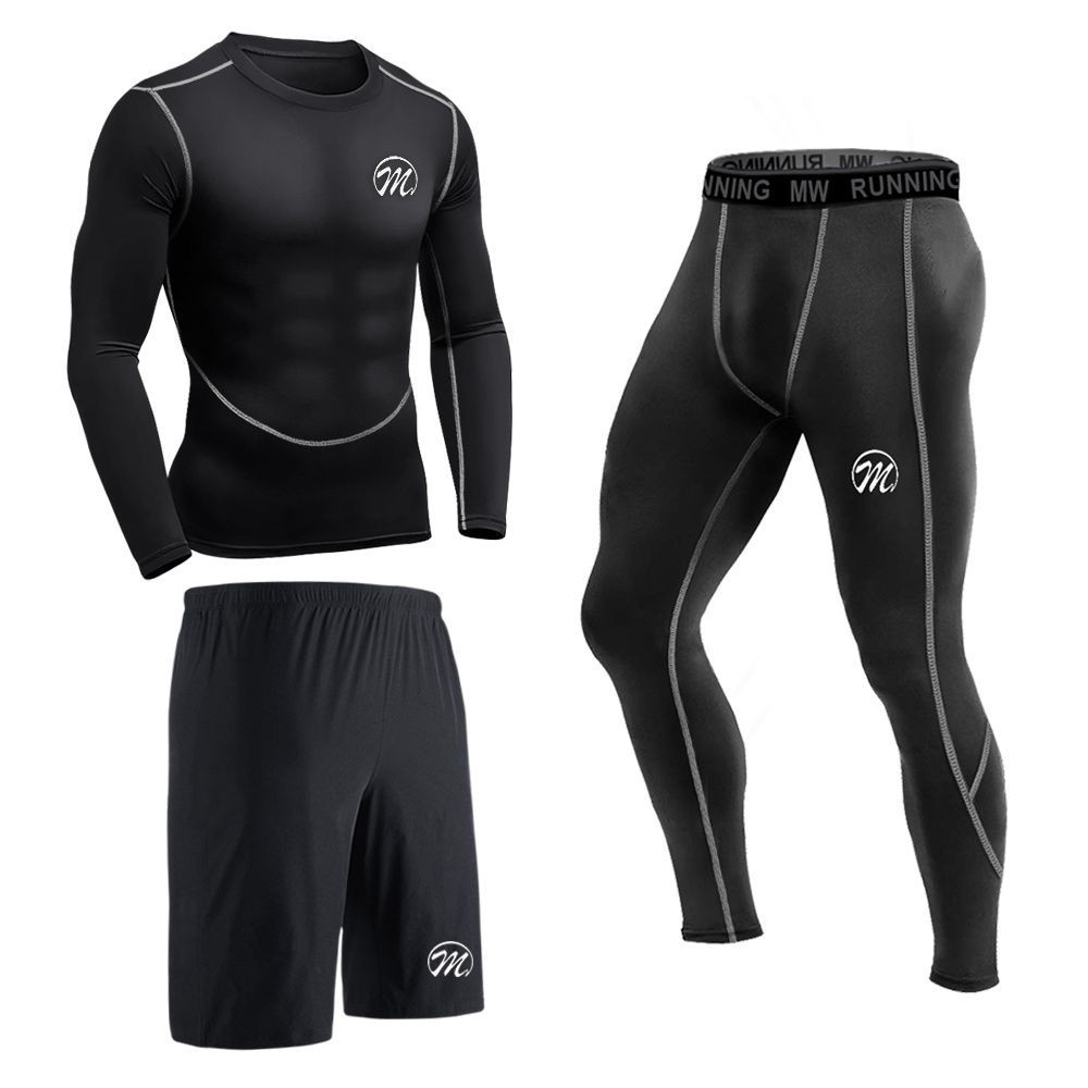 MEETEU Men's Compression Leggings Set, Quick Dry Sports T Shirt, Gym Underwear for Running Cycling, Base Layers Tights with Loose Fitting Shorts