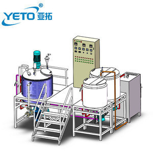 1000L fixed type automatic vacuum cosmetic body lotion cream mixer making machine , ointment emulsion homogenizer equipment