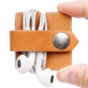 2016 Portable Leather Headphone Cable Winder