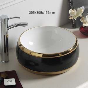 Antique Ceramic Vessel Sink art basin for Saudi Arab with gold pattern ceramic wash basin patterned sink