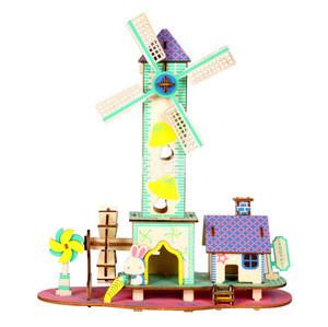 Best sale 3d wooden puzzle house model children's educational toys wooden toys
