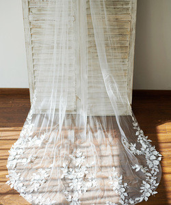 Cathedral Long Tulle 3D Flowers Wedding Veil Bridal Veil