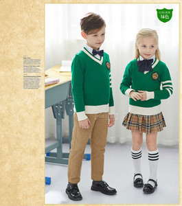 Claasy Ribbed cuffs and hem Kids Sweater Winter School Uniform