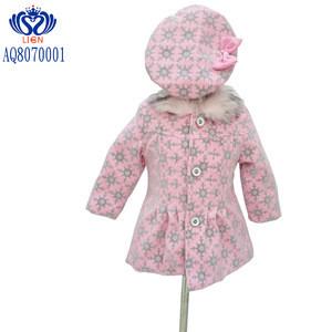 European Fashion Style New 2019 baby girls coat Woolen flock sleeveless boutique skirt Felt felt hat