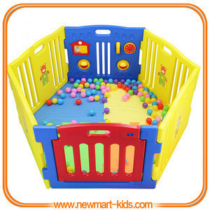 Foldable Plastic Baby Playpen,Toddler Safety Monitor Gate,Baby Play Yard