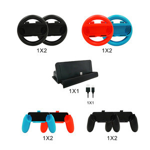 For nintendo switch console game accessory set 10 in 1 with retail box wheels controllers grip charging dock USB cable