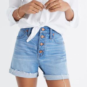 Hot selling mid blue high rise cut off roll hem women summer denim shorts