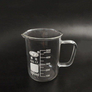 Laboratory Glassware Glass Measuring Beaker With Handle