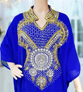 Latest modern Islamic clothing made in India abaya for Muslim ladies party wear long Moroccan hand beaded kaftan