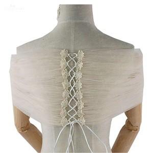 LZP410 Real Pictures Jacket Women Elegant Tulle Flower Applique Lace Up Bridal Wrap Illusion Wedding Shawl