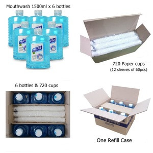 Mouthwashes and paper cups for dispenser machine