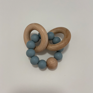 Nordic Organic Wooden Baby rattle teether Toy Set Silicone Beads Teether