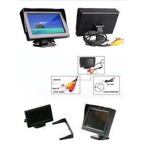 "UPsztec 4.3"" TFT Color LCD Car Monitors Reverse Rearview 16:9 Car Monitor For Camera DVD VCD 2 Video Input"