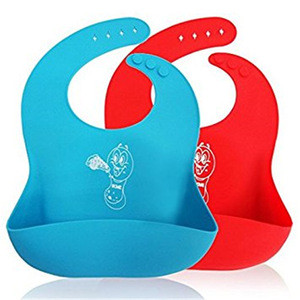 Wholesale silicone baby bibs with pocket with brand logo