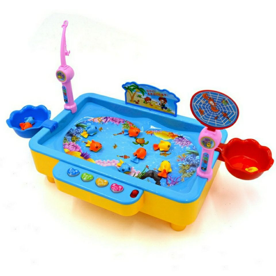2019 Good quality Fishing Toys Child Music Playing House USB Electronic Fishing Platform Spin Magnetis For chlidren kids