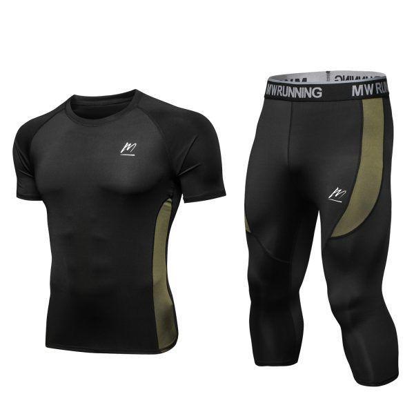 MEETYOO Women/'s Compression Shirt Sport Leggings Short Sleeve T-shirt Ladies Running Tops Pants Base Layer Set for Yoga Fitness Jogging