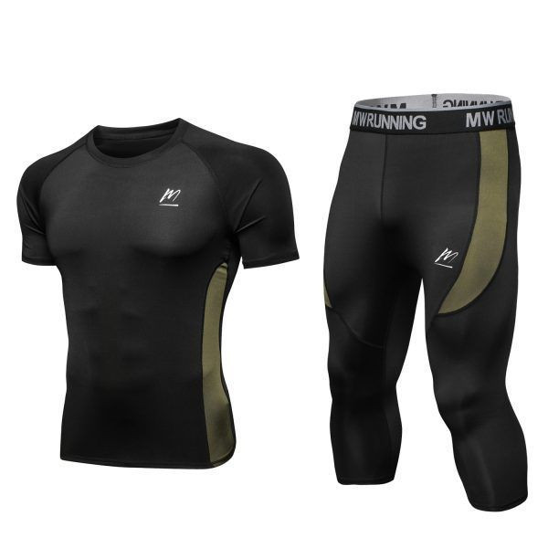 MEETEU Men's Compression Pants Set, Cool Dry 3/4 Leggings Running T-Shirt, Sport Base Layer Fitness Tights for Running Cycling