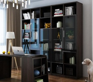 Bookcase wooden with doors and drawers glass model