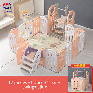 Custom size play fence large plastic kids folding square indoor play yard fence baby playpen