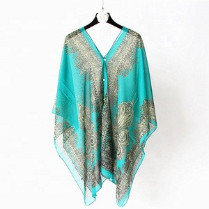 Fashion 2020 summer poncho beach wear cover up, Women multifunctional beach pareo sarong with 15 colors
