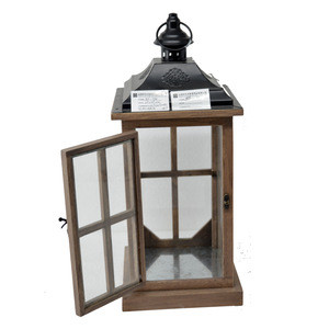 Garden country style Candle Holder Traditional Lantern  Wholesale wooden and glass Hanging Storm Lantern
