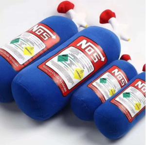 JDM Plush Toys NOS Nitrous Oxide Bottle Soft Turbo Gifts Car Seat Cushions Decor Headrest Backrest Neck Rest Pillow