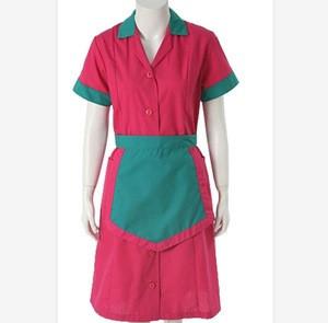Ladies stylish cheap customized dress hotel server uniform