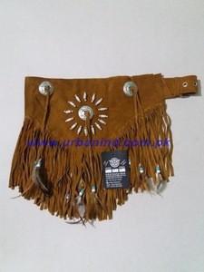Light Brown Indian Fringed & Beaded Women Tassel Belts