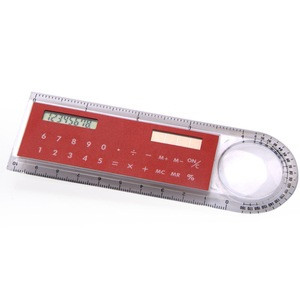Multi-function 10cm  ruler protractor 8 digits solar energy power magnifier calculator