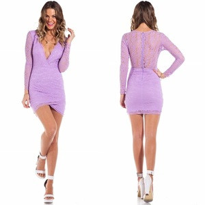 New arrival cheap long sleeve all over lace and deep v neckline club dress